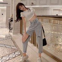 Xizou Women Jeans Boyfriends Gran tamaño Rompe Jeans con ropa de calle de cintura alta Denim Pantalones rectos Pantalon Jean Femme
