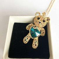Colliers Xunbei Crystal Love Cœur Or Bijoux Gold Bijoux Long Teddy Bear Collier pour femmes