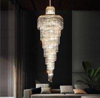 أعلى الحديثة الفاخرة الكريستال الثريا الإضاءة للدرج الذهب مصابيح الذهب طويل المدخل داخلي درج أدى كريستال مصباح