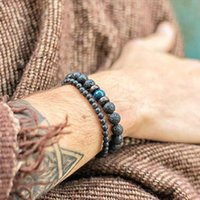 Men Bracelet Natural Chakra Rock Volcanic Lava Stone Beads Wooden Charm For Women Jewelry Gifts Beaded, Strands
