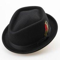 Chapeau de laine de laine de mode d'hiver Sunlynn pour hommes 100% de plume feutre des chapeaux de melon d'hommes