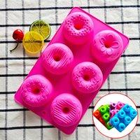 Mais novo Silicone Donut Mold Cozimento Paneiro 6-Cavidade Donuts Bolo Baking Bandeja Não-Stick Resistente ao Calor Silicone Bakeware Ferramenta