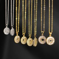 Nz1004 Copper White Cubic Zirconia Diamond 26 Alphabet Letter Pendant Necklaces A-z Initial Charm Chain Necklace for Women