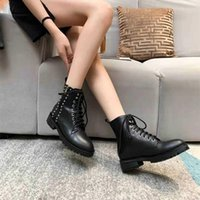 Luxury Designer womens autumn and winter boots fashion European metal shoess rivet punk style bootss middle heel casual party woman shoes