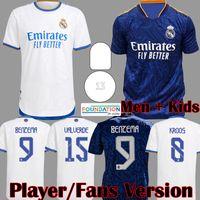 2021 2022 Real Madrid MBAPPE لاعب نسخة لكرة القدم الفانيلة البنزيما سيرجيو راموس أسيندو مارسيلو فالفيردي كروس كرة القدم قميص أطفال ألابا