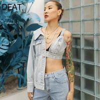 Deat 2020 New Summer High Street Wickelte Brust Patchworke Unregelmäßige Ärmel Mode Sexy Stil Jeansjacke Frauen SB2511