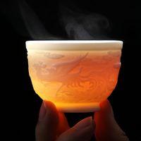 Cups & Saucers Dragon Phoenix Teacup Ceremony Drinkware Teaware Jade Porcelain Lotus Tea Cup 90ml Master Health Small Bowl