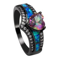 Wedding Rings Fashion Lady Promise Ring Jewelry Fire Opal Love Heart For Couple Black And Engagement Women Accessories