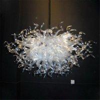 Postmodern şişmiş cam avize şeffaf beyaz temizle lambalar led tavan avizeler ev dekorasyon oturma odası parlaklık