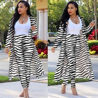 Fashion Zebra pattern Printed Suit Autumn Africa Women's Long Sleeve Kimono Trench Coat with Pencil pants 210517