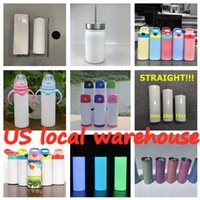 Local warehouse Sublimation Tumblers Straight Sippy Cups Water bottles Wholesale coffee mugs double insulated cup 304 stainless steel fast ship A13