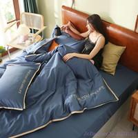 Set di biancheria da letto 1.8m BedDingSet 4pcs Purecolor Pink Grigio Grigio 60TC Lungo in cotone Copripiumino ricamato Light Luxury Semplice puro