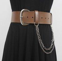 Belts Women's Runway Fashion Genuine Leather Chain Cummerbunds Female Dress Corsets Waistband Decoration Wide Belt R3100