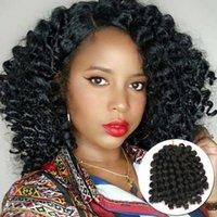8 inç Jumpy Değnek Curl Jamaican Sıçrama Sentetik Örgü Uzatma Tığ Örgü Saç Kadın