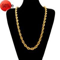 Herren Hip Hop Gold Überzogene Halskette 1 cm dicke Hanf verdrehte Seilkette