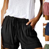 Mujeres Pantalones cortos más Tamaño Casual Sólido Multi Bolsillo Mujer cordón Pantalones cortos Spodenki para