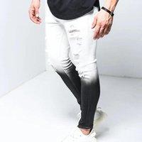 Men's Pants Fashion Cotton Denim Vintage Gradient Patchwork Hole Wash Hip Hop Work Trousers Tight Jeans