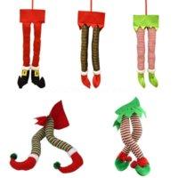 Weihnachten Santa Elf Beine Plüsch ausgestopfte Füße mit Schuhen Weihnachtsbaum Dekorative Ornament Home Decoration Zubehör Navidad CS29