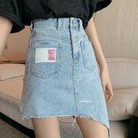 Skirts High Waist Vinatge Blue Irregular Pockets Denim Half-body Skirt Women Fashion Tide Summer 2021