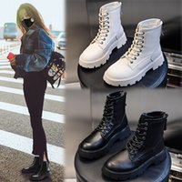 Leather Martin Boots Female Autumn and Winter 2021 New British Style Thick Heel Middle Bootie Female Versatile Womens Casual Shoes Tide