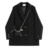 Spring Vintage Black Blazer Jacket Women Shoulder Bag Decoration Fashion Double Breasted Suit Womens Formal Blazers Coat Women's Suits &