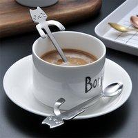 8 unids de acero inoxidable Mini gatito gatito cucharas para café té postre bebida mezcla batido de leche cuchara vajilla conjunto suministros de cocina 210907
