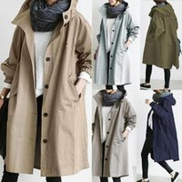 Women's Trench Coats The Latest Autumn Solid Color Hooded Long-Sleeved Single-Breasted Coat