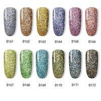 Nail Gel Dip Powder Art Polish Gradient Shining Chrome Pigment Dipping Set Holographic Glitter Flakes Sequins