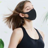 패션 PM2.5 얼음 실크 3D 마스크 얼굴 입 커버 안티 먼지 방지 방지 유니섹스 패브릭 파티 마스크 호흡 보호구 통기성 빨 수있는면