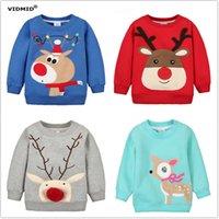 1-5Y Çocuk Hoodies Kızlar Kırmızı Noel Ren Geyiği Polar Kalın Hoodie Boy Bebek Kalın Tişörtü Çocuk Karikatür Kazak 1014 03 210529