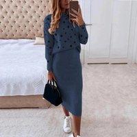 Two Piece Dress Women Skirt Suit Streetwear Blouse Lady Turtleneck Casual Bodycon Mid-Calf