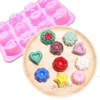 Silicone Baking Moulds Flip Sugar mold Flower Shaped Cake Muffin Cups Candy Molds DIY Chocolate biscuit 12 different shapes EWA5563