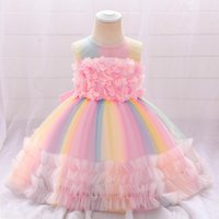 Girl's Dresses Born Ballgown Girl Party Wedding Flowers Pink Rainbow Infant 1st Birthday Princess Baptism Dress