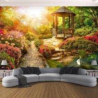 Mural personalizado autoadhesivo papel tapiz 3d estéreo sol jardín paisaje pintura sala de estar dormitorio decoración casera pared impermeable fondos de pantalla