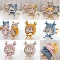 Otoño invierno cálido recién nacido bebé sombrero lindo dibujos animados gato alces oreja bebé niño gorra gorra protección sombreros color sólido color benne bonne 1674 y2