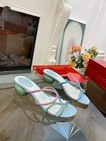 Moda Cleo Gökkuşağı Sandal Kristal Serpantin Sarma Açık Toe Seksi Strass 40 Yüksek Topuk Parti Kadın Tasarımcı RC Sandalet MJK0001