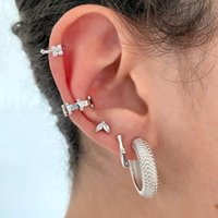 Stud Minimalist Zircon Gold Earrings 925 Sterling Silver Large Circle Round For Women Girl Fashion Party Jewelry
