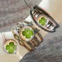 2021 New Charm Bracelets Lucky Four-leaf Clover Retro Bracelet Femme Steampunk Glass Cabochon Pulseras Mujer Luminous Shamrock Ban
