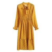 Casual Dresses Autumn Fashion Vintage Dress For Women Bohemian Dot Solid Yellow Silk Maxi Wedding Guest High Waist Lady Robe