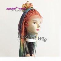 Nouveau tresses de couleur arc-en-ciel perruque synthétique colorée tressée de dentelle de la dentelle frontale perruque de sirène coloré de tresses pleines pour femmes noires