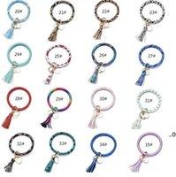 Tassels Keyring Bracelets Party Gifts Wristlet Keychain Bracelet Circle Key Ring Bangle Fashion Chain For Women Multi Colors EWD8670