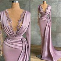 2022 Lavanta Abiye giyim Sheer Jewel Boyun Boncuklu Mermaid Gelinlik Modelleri Parti Giymek Uzun Kollu Kadınlar Resmi Elbise