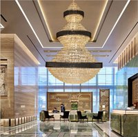 Top  Staircase Chandelier Lighting Large Home Decoration Crystal Lamps Modern Black Light Fixtures Lobby Hotel LED Lights