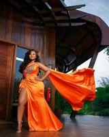 2021 Evening vestidos de baile árabe aso ebi laranja frisado cristais altos divisão um ombro festa formal segundo vestidos de recepção
