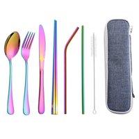 Custom Stainless Steel Cutlery Set Travel Utensils Dinnerware Outdoor Portable Flatware Sets Stainless Steel Tableware Set 5 Colors