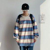 T Gömlek Sonbahar erkek Uzun Kollu Çizgili T-Shirt Öğrenci Kore Gevşek Yuvarlak Boyun Dipli Orijinal Suzuki Stil Edebiyat Ve Sanat İşlemeli