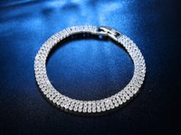 2021 New Luxury Three Rows Tennis Full Drills 2MM 19CM 925 Sterling Silver Bracelet Bangle For Women Jewelry Wholesale S5439
