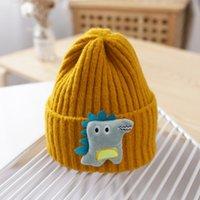 Kış Karikatür Dinozor Bebek Şapka Kap Sıcak Örme Bebek Kız Erkek Şapka Beanie Elastik Çocuk Şapka Çocuk Kap Bonnet 1033 X2