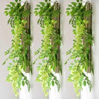 7ft 2m Flower String Artificial Wisteria Vine Garland Plants Foliage Outdoor Home Trailing Flower Fake Hanging Wall Decor OWD7005