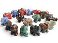 1,5 Zoll Kleiner Elefant Statue Handwerk Natürlicher Chakra Stein Geschnitzte Kristall Reiki Heilung Tier Figur 1 stücke